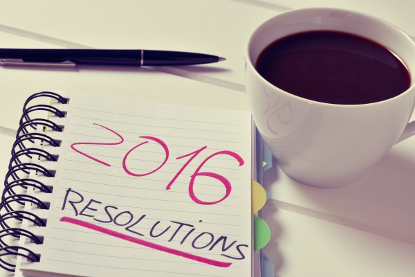 coffee and notepad with the text 2016 resolutions